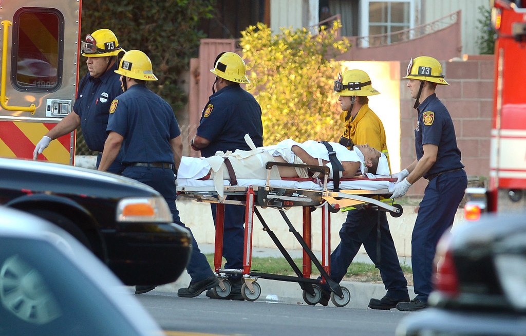 . A wounded suspect is brought to an ambulance after robbery suspects engaged officers in a pursuit, shootout and manhunt in Reseda, Ca July 8, 2013.  Both suspects were apprehended after a search along Tampa Ave near Strathern St. Monday evening.(Andy Holzman/Los Angeles Daily News)