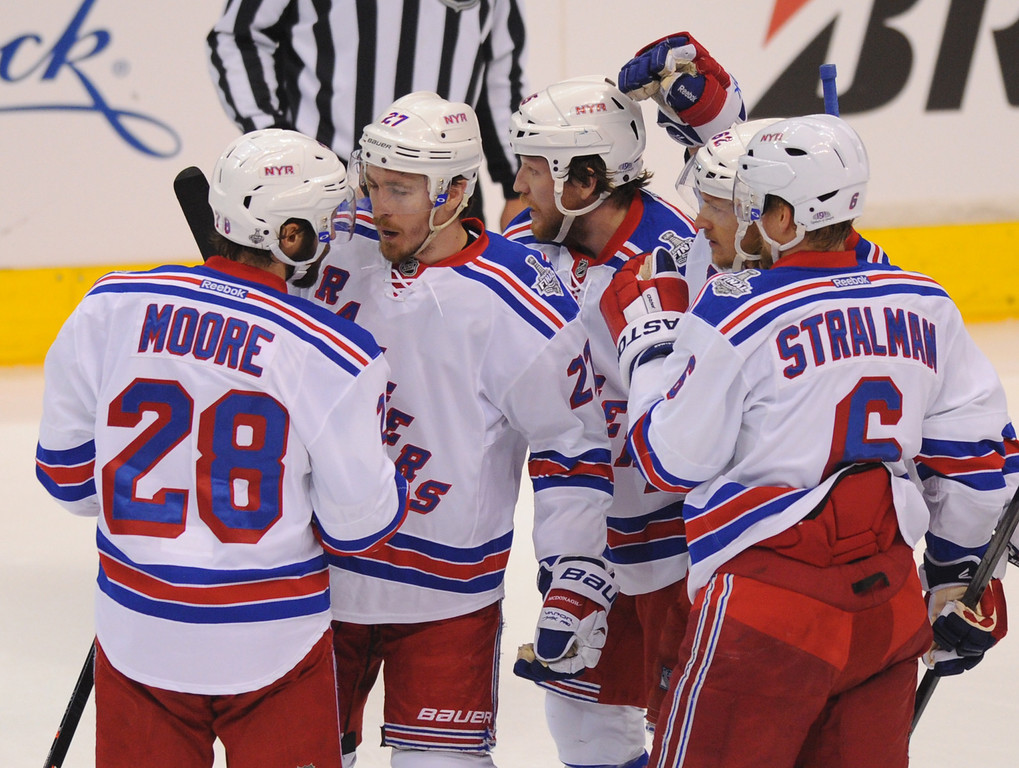 . The Rangers\' celebrate a first-period goal by Ryan McDonagh, second from left, in game two of the Stanley Cup Final, Saturday, June 7, 2014, at Staples Center. (Photo by Michael Owen Baker/Los Angeles Daily News)