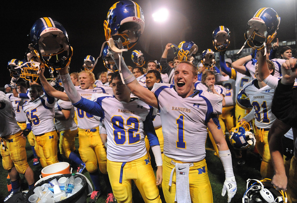 . Nordhoff players celebrate victory 31-14 over North.North Torrance vs Nordhoff High School CIF Southern Sect. Northwest championship. 12-1-12. Photo by Brad Graverson/LANG