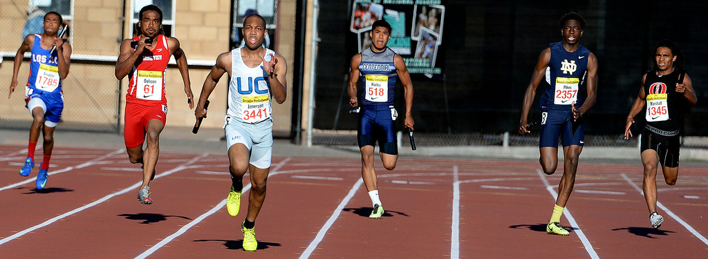 . Union Catholic\'s Jordan Jimerson runs the last leg as Union Catholic wins the 4x200 Invitational during the Arcadia Invitational track and field meet at Arcadia High School in Arcadia, Calif., on Friday, April 11, 2014. Rocky Mountain won the race as Redondo Union finished second. (Keith Birmingham Pasadena Star-News)