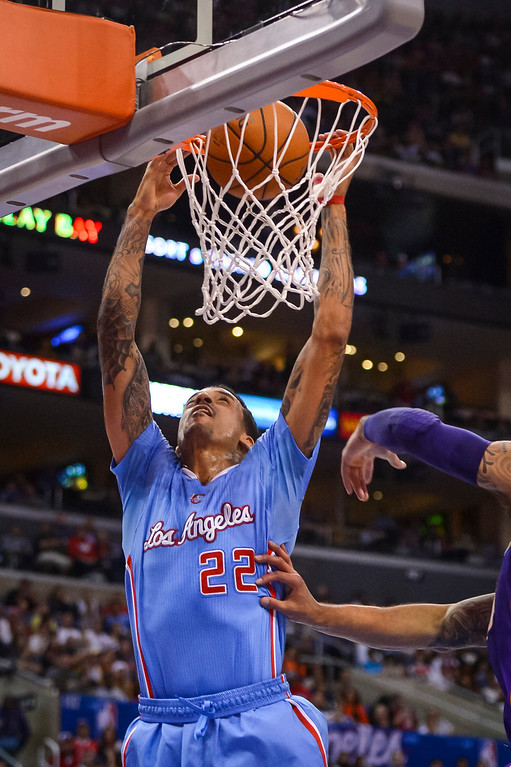 . Clippers Matt Barnes dunks in two points  during game action at Staples Center Sunday April 6, 2014. Clippers defeated the Lakers 120-97.  ( Photo by David Crane/Los Angeles Daily News )