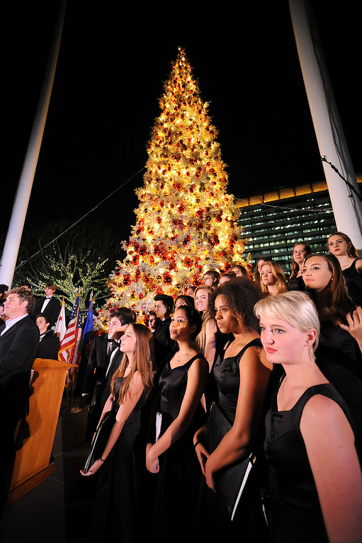 . Singers from the Los Angeles County High School of the Arts were on hand to perform holiday classics during the annual lighting of the Los Angeles County Christmas Tree December 2 , 2013 in Los Angeles, CA.  The 50-foot tree is located in front of the  Los Angeles County Music Center in downtown Los Angeles.(Andy Holzman/Los Angeles Daily News)