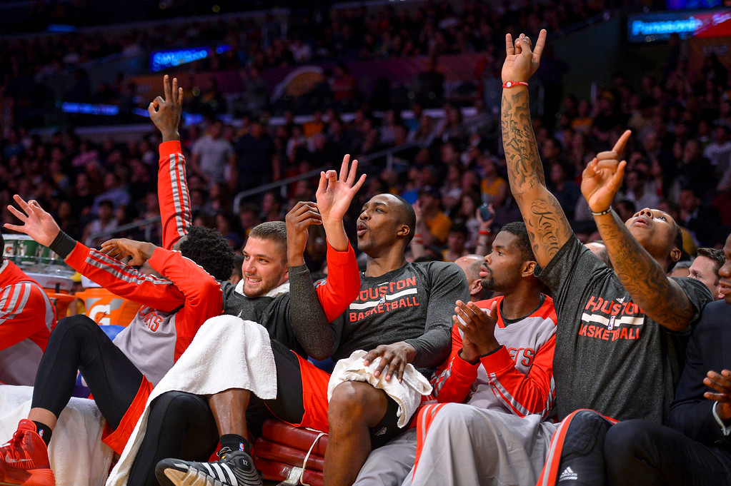 . Houston Rockets roar as their team goes up by more than 30 points over  the Lakers at Staples Center Wednesday, February 19, 2014.  The Rockets defeated the Lakers 134-108.  ( Photo by David Crane/Los Angeles Daily News )