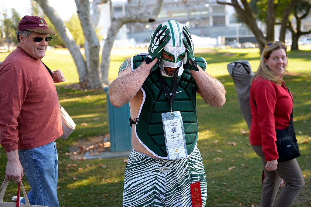 . Michigan State alumni Bill Ogden puts on his game face before the Rose Bowl game, Wednesday, January 1, 2014. (Photo by Michael Owen Baker/L.A. Daily News)