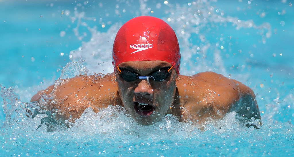 . Mark Keppel\'s Justin Chiu in the 100 yard butterfly during the CIF-SS Division II swim finals at Riverside City College on Saturday, May 11, 2013 in Riverside, Calif.  (Keith Birmingham Pasadena Star-News)