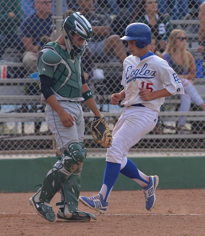 . 0509_SPT_TDB-L-SOUTH-ELSEG--- El Segundo, CALIFORNIA--5/8/13--- Staff Photo: Robert Casillas / LANG--- South Torrance defeated host El Segundo 6-3 in Pioneer League baseball game. Nick Martinez scores for El Segundo.