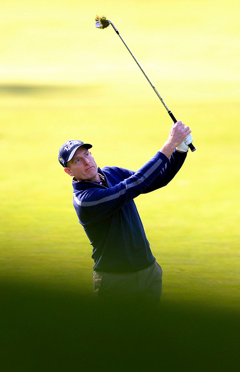 . Jim Furyk hits a shot to the 1st green during the first-round of Tiger Woods\' Northwestern Mutual World Challenge at Sherwood Country Club in Thousand Oaks, CA Thursday December 5, 2013.(Andy Holzman/Los Angeles Daily News)