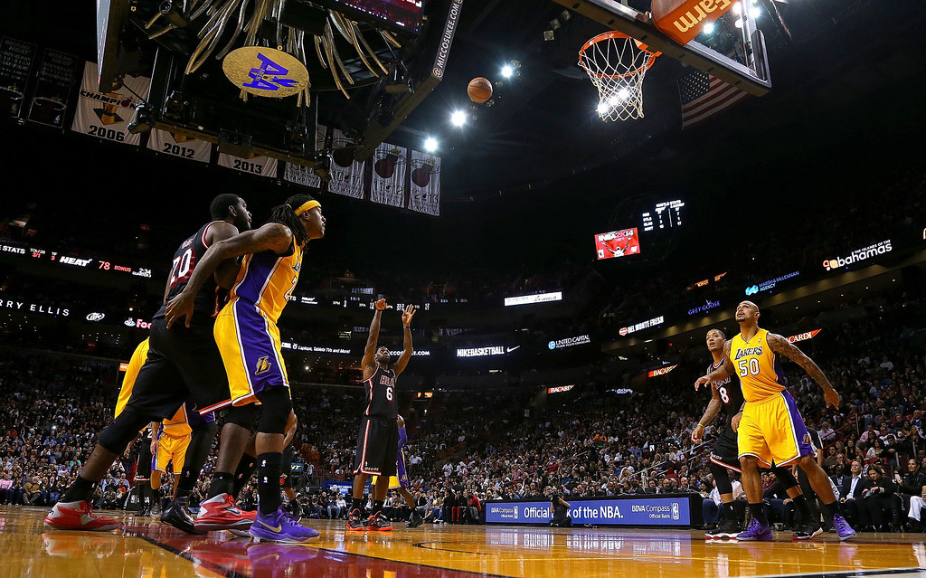 . LeBron James #6 of the Miami Heat shoots a free throw during a game against the Los Angeles Lakers at American Airlines Arena on January 23, 2014 in Miami, Florida.   (Photo by Mike Ehrmann/Getty Images)