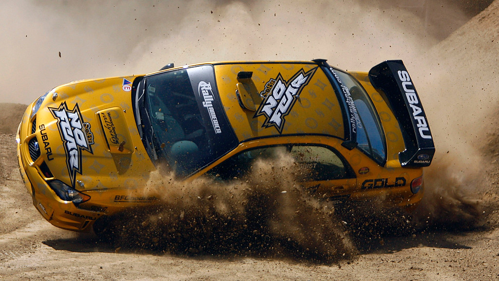 . Colin McRae wins a silver medal even after rolling his car in the final seconds of his last lap in the Rally Car competition during the X Games Twelve at the Home Depot Center Carson August 5. 2006.  (SGVNStaff Photo Keith Birmingham/SXSports)