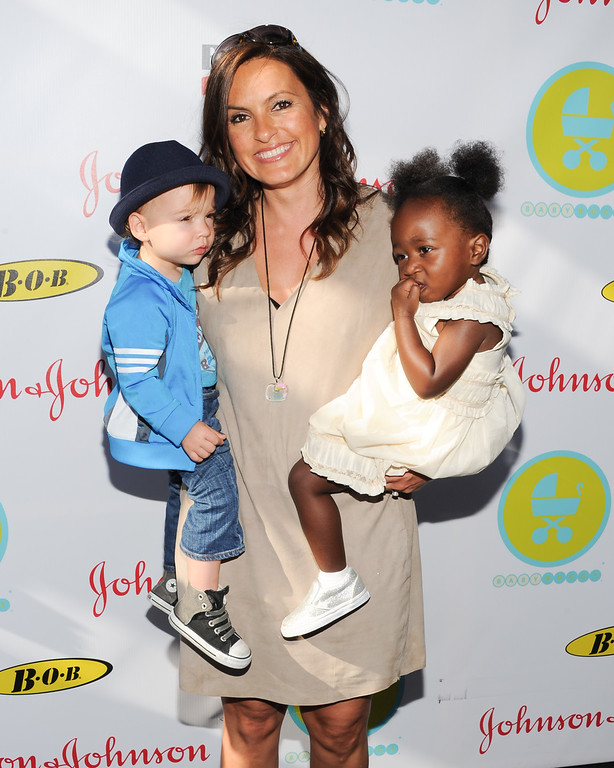 . Actress Mariska Hargitay poses with her children Andrew, left, and Amaya at the 2013 Baby Buggy Bedtime Bash at Wollman Rink in Central Park on Wednesday, June 5, 2013 in New York. (Photo by Evan Agostini/Invision/AP)