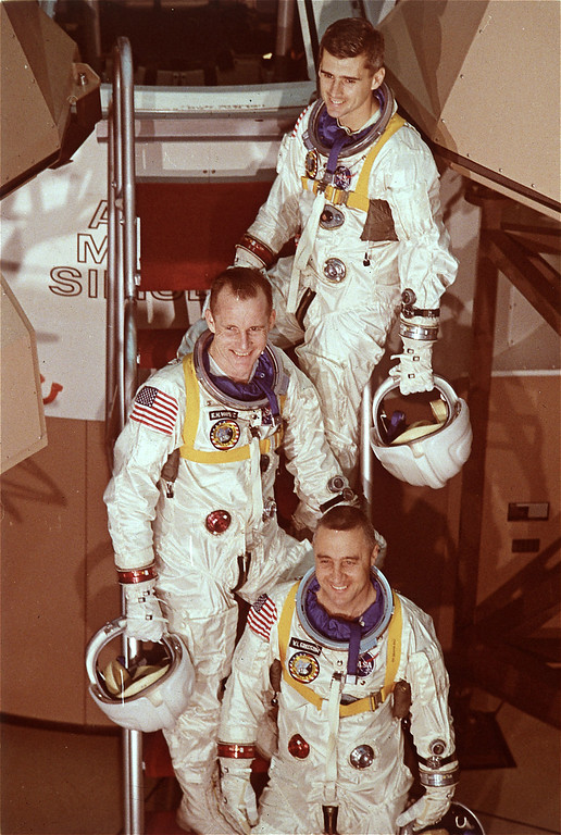 . The crew of Apollo 204, also known as Apollo 1, shown in their space suits January, 1967.  Front to rear are Virgil Grissom, Edward White, and Roger Chaffee.  (AP photo/Nasa)
