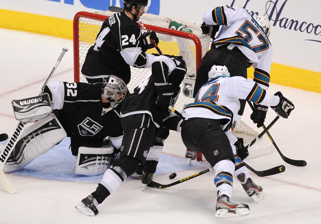 . The San Jose Sharks\' Marc-Edouard Vlasic (#44) scores a third-period goal against the Kings, Thursday, May 16, 2013, at Staples Center. (Michael Owen Baker/Staff Photographer)