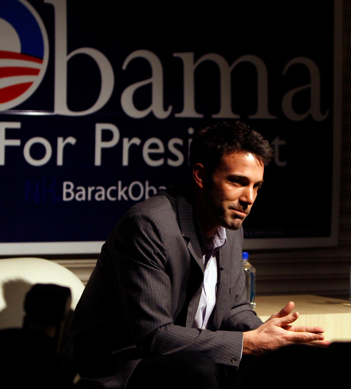 . Oscar winner Ben Affleck addresses the media at a nightclub where he and his actor wife, Jennifer Garner, host event for the Democratic presidential candidate Barack Obama, Sunday, March 16, 2008, in Boston. (AP Photo/Bizuayehu Tesfaye)`