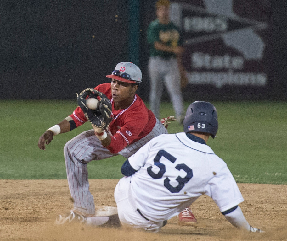 . Pasadena High second baseman Chance Cobb tags out La Salle\'s Noeh Martinez stealing stealing during the 18th annual San Gabriel Valley High School All-star Baseball game at Mt. SAC\'s Mazmanian Field June 3, 2013.   (SGVN staff photo by Leo Jarzomb)