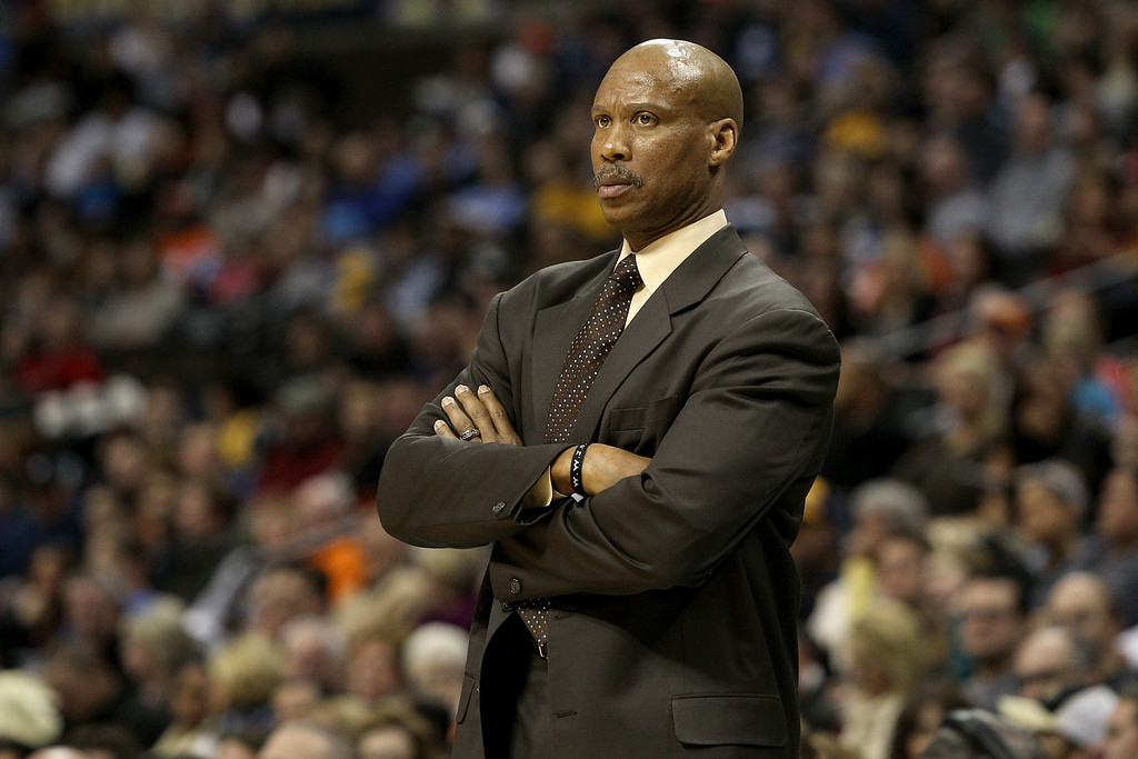. Byron Scott of the Cleveland Cavaliers looks on against the Denver Nuggets at Pepsi Center on January 11, 2013 in Denver, Colorado.    (Photo by Chris Chambers/Getty Images)