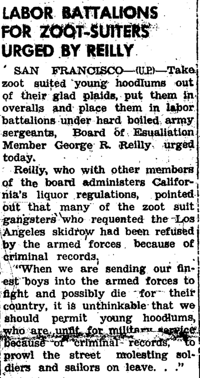 . During the summer of 1943, while the heat hit the streets in the form of fights and riots between the sailors and latino youth, newspapers headlines only fueled the fires of racism and fear. (Article originally published in the Corona Daily Independent on June 15, 1943)