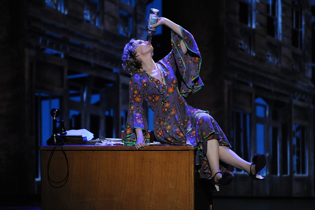 """. Jane Lynch, as Miss Hannigan, and the cast of \""""Annie\"""" performs at the 67th Annual Tony Awards, on Sunday, June 9, 2013 in New York.  (Photo by Evan Agostini/Invision/AP)"""