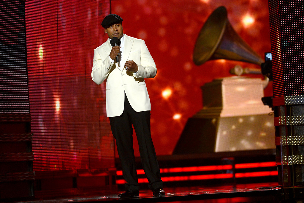 . LOS ANGELES, CA - FEBRUARY 10:  Host LL Cool J speaks onstage at the 55th Annual GRAMMY Awards at Staples Center on February 10, 2013 in Los Angeles, California.  (Photo by Kevork Djansezian/Getty Images)