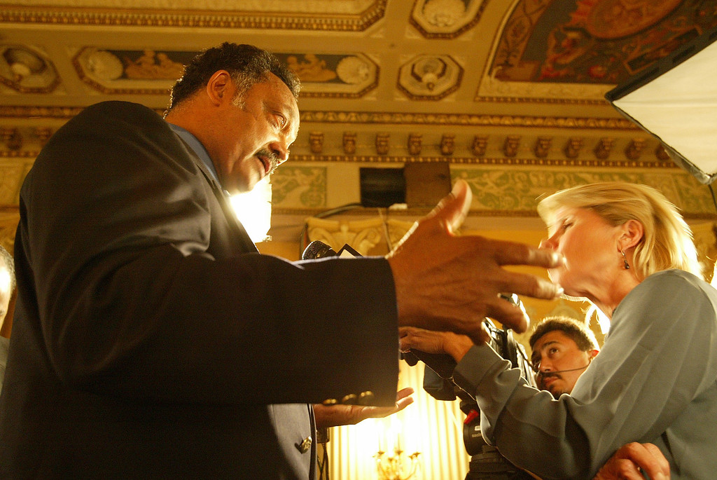 . 10/7/03- Los Angeles, CA  Jessie Jackson speaks to members of the media as he showed up to support Governor Gray Davis during the election evening at the Crystal Ballroom of the Biltmore Hotel in Los Angeles. John Lazar/L.A. Daily News