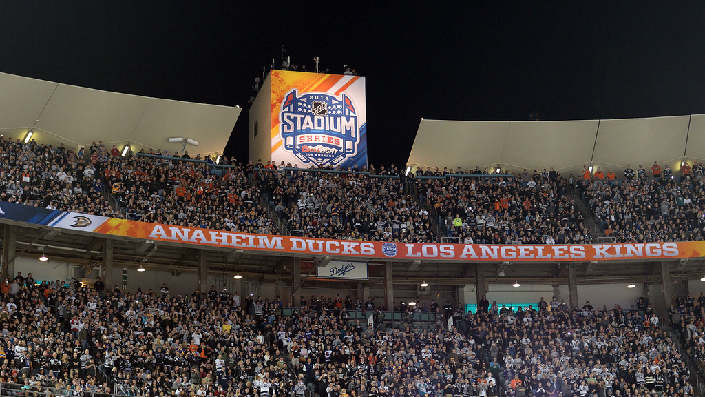 . A full house for the Anaheim Ducks vs. Los Angeles Kings inaugural NHL Stadium Series game at Dodger Stadium in Los Angeles on Saturday, Jan. 25, 2014. (Keith Birmingham Pasadena Star-News)