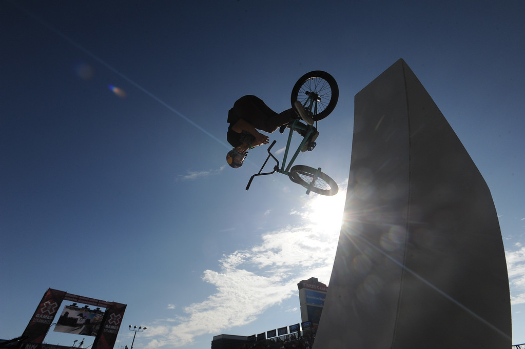 . Garrett Reynolds takes a ramp on his way to a 2nd place finish during the BMX Street finals at L.A. Live in Los Angeles, CA. 8/3/2013(John McCoy/LA Daily News)