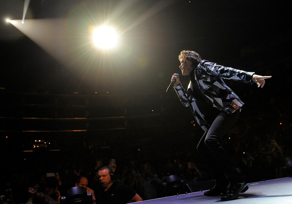 ". Mick Jagger of the Rolling Stones performs at the kick-off of the band\'s ""50 and Counting\"" tour at the Staples Center on Friday, May 3, 2013 in Los Angeles. (Photo by Chris Pizzello/Invision/AP)"