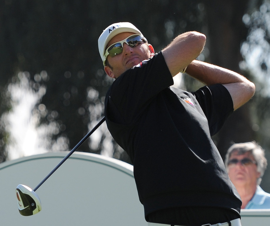 . Jason Allred tees off on #18 during the second round of the Northern Trust Open. Pacific Palisades, CA. February 13, 2014 (Photo by John McCoy / Los Angeles Daily News)