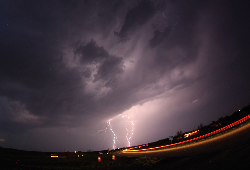 . April 26,2014. Quaniah TX. USA. Lightning strikes across as storm chasers take photos and track the atoms as they move over the Midwest. Photo by Gene Blevins/LA DailyNews