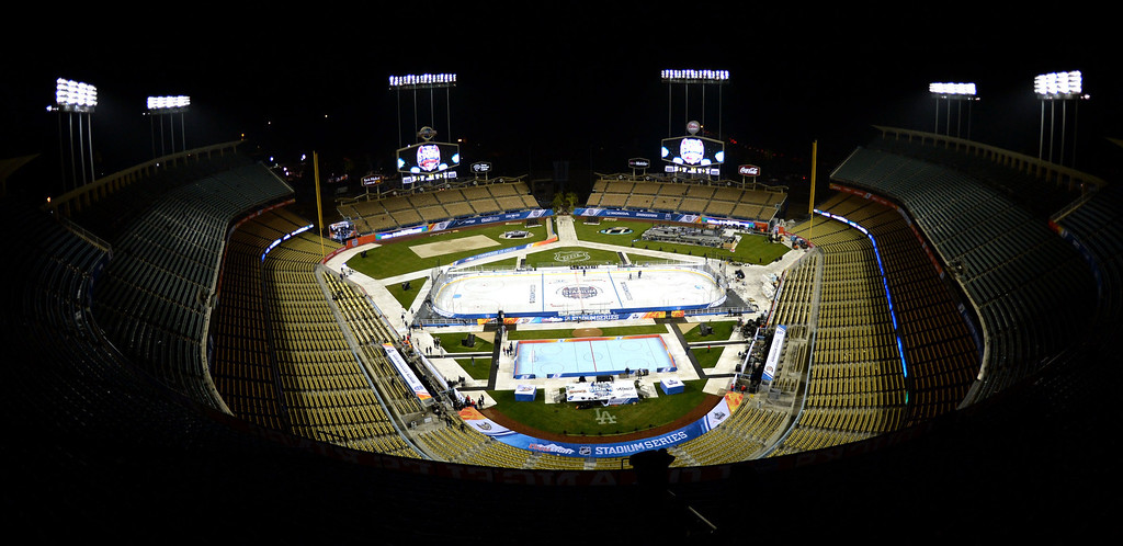 . An empty Dodger stadium after the Anaheim Ducks defeated the Los Angeles Kings 3-0 in the inaugural NHL Stadium Series game at Dodger Stadium in Los Angeles on Saturday, Jan. 25, 2014. (Keith Birmingham Pasadena Star-News)