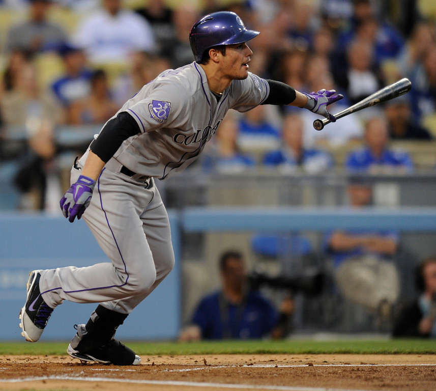 . Nolan Arenado in the first inning. The Los Angeles Dodgers played host to the Colorado Rockies in a game at Dodger Stadium in Los Angeles, CA 5/1/2013(John McCoy/Staff Photographer)