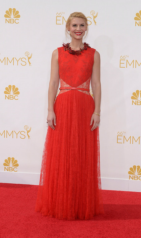 . Claire Danes on the red carpet at the 66th Primetime Emmy Awards show at the Nokia Theatre in Los Angeles, California on Monday August 25, 2014. (Photo by John McCoy / Los Angeles Daily News)