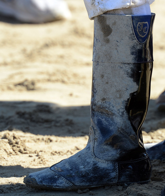 ". Jockey Javier Castellano muddy boot after winning the fourth race atop ""Ria Antonia\"" during the Breeders\' Cup at Santa Anita Park in Arcadia, Calif., on Saturday, Nov. 2, 2013.    (Keith Birmingham Pasadena Star-News)"
