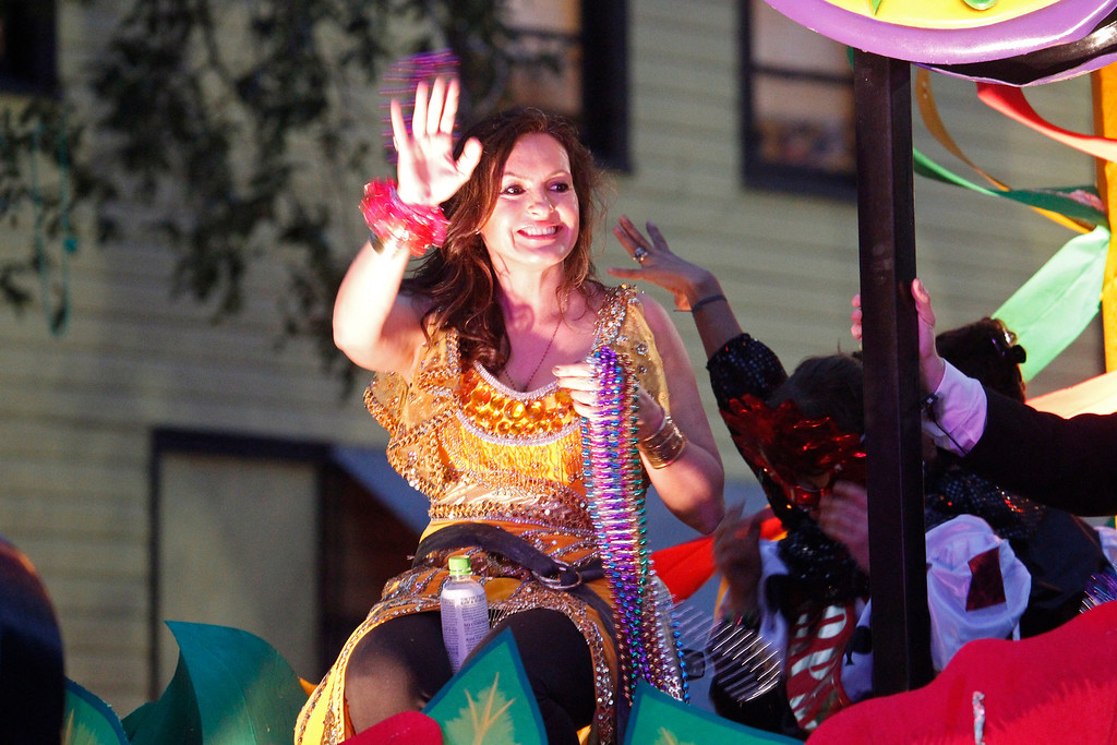 . Actress Mariska Hargitay rides in the Orpheus Mardi Gras parade in New Orleans,  Monday, Feb. 11, 2013. (AP Photo/Bill Haber)