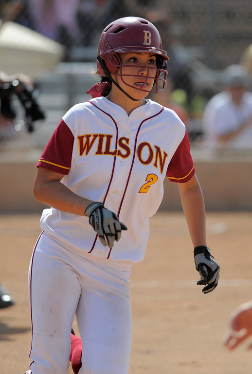 . 05-16-2013-( Daily Breeze Staff Photo by Sean Hiller) Wilson vs. El Toro in the opening round of the CIF-SS D2 playoffs Thursday at Joe Rodgers Field in Long Beach. Alleah Laxamana singles for Wilson.