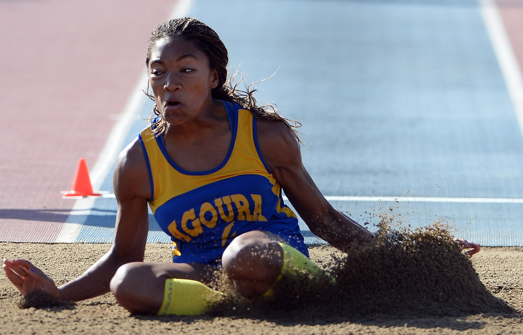 . Agoura\'s Tara Davis competes in the during long jump CIF California State Track & Field Championships at Veteran\'s Memorial Stadium on the campus of Buchanan High School in Clovis, Calif., on Saturday, June 7, 2014. 
