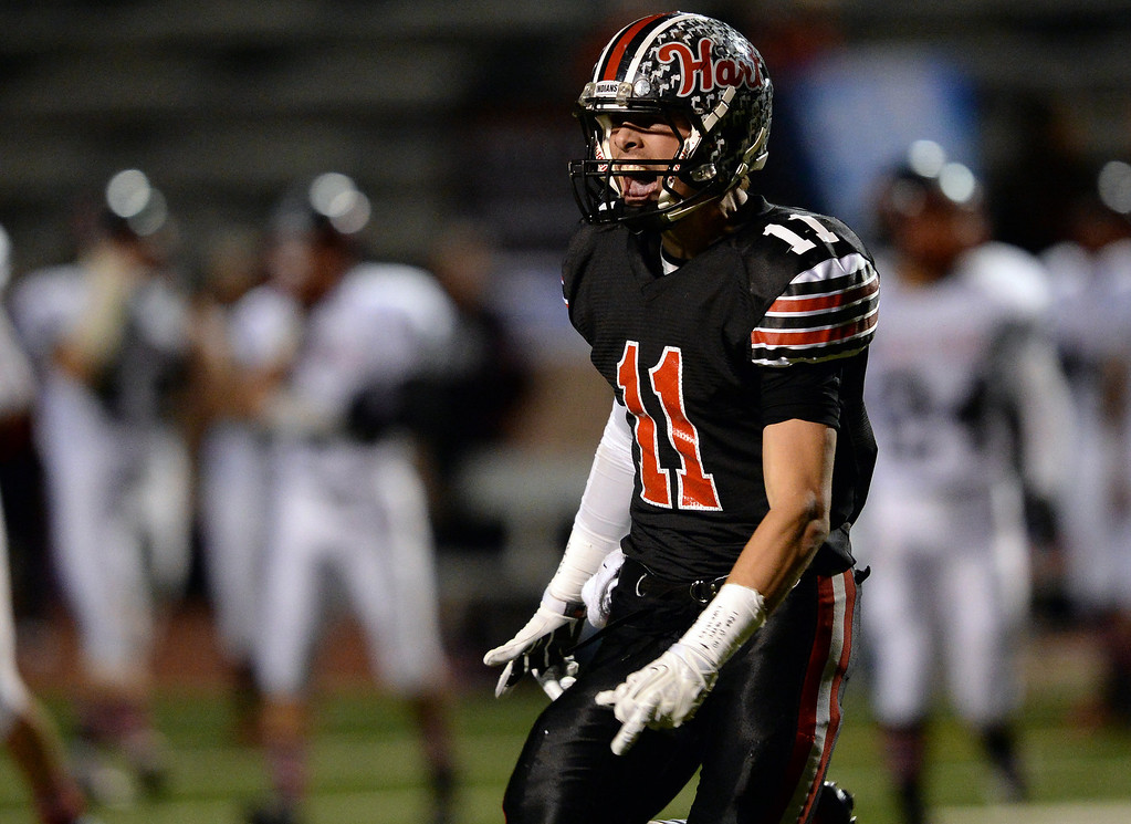 . Hart�s Andrew MacArthur #11 reacts after recovering a fumble during their CIF Northern Division playoff game against Palos Verdes at College of the Canyons in Santa Clarita Friday November 22, 2013. (Photos by Hans Gutknecht/Los Angeles Daily News)