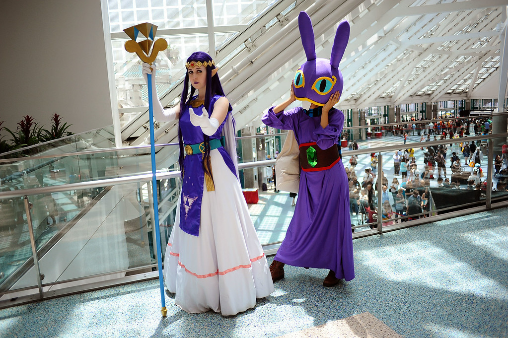. Rhiannon Winkler and Tracey Lein dres as their favorite characters during Anime Expo 2014 at the Los Angeles Convention Center July 3, 2014.  The expo, which runs from July 3-6, is expect to draw 200,000 Japanese animation and pop culture fans.(Andy Holzman/Los Angeles Daily News)