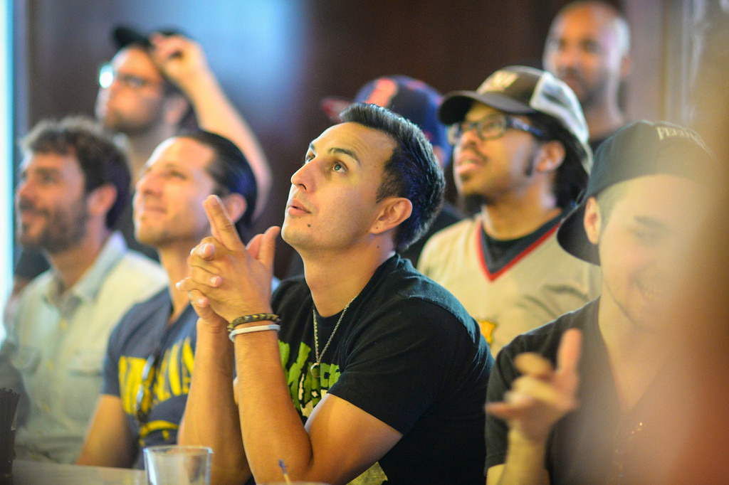 . Fans watch the World Cup final at 33 Tap\'s Sport Bar in Hollywood, CA Sunday, July 13. 2014.  Germany defeated Argentina 1-0 to win the 2014 World Cup. ( Photo by David Crane/Los Angeles Daily News )