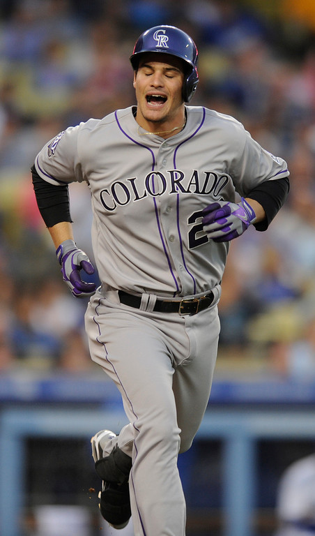 . Nolan Arenado reacts to grounding out in the first inning. The Los Angeles Dodgers played host to the Colorado Rockies in a game at Dodger Stadium in Los Angeles, CA 5/1/2013(John McCoy/Staff Photographer)