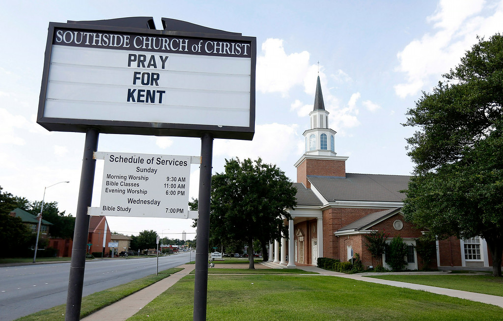 . A sign at Southside Church of Christ offers support for Dr. Kent Brantly who is being treated for Ebola in Liberia, on Sunday, July 27, 2014, in Fort Worth, Texas. The doctor has been treating Ebola patients for the Samaritan\'s Purse organization. (AP Photo/The Fort Worth Star-Telegram, Ben Noey Jr.)