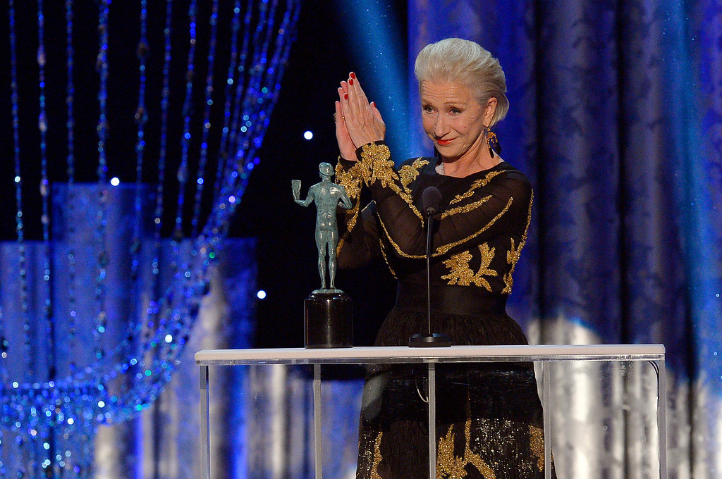 . Helen Mirren accepts for  Outstanding Performance by a Female Actor in a Television Movie or Miniseries during the show of the 20th Annual Screen Actors Guild Awards  at the Shrine Auditorium in Los Angeles, California on Saturday January 18, 2014 (Photo by Andy Holzman / Los Angeles Daily News)