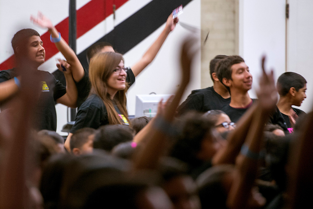 . U.S. Congresswoman Linda Sanchez, Cartoon Network president Stuart Snyder and Cartoon Network performers Shauna Case, Jeremy Shada and Kat McNamara attend an anti-bullying rally at Katherine Edwards Middle School in West Whittier Sept. 23, 2013.  (Staff photo by Leo Jarzomb/SGV Tribune)