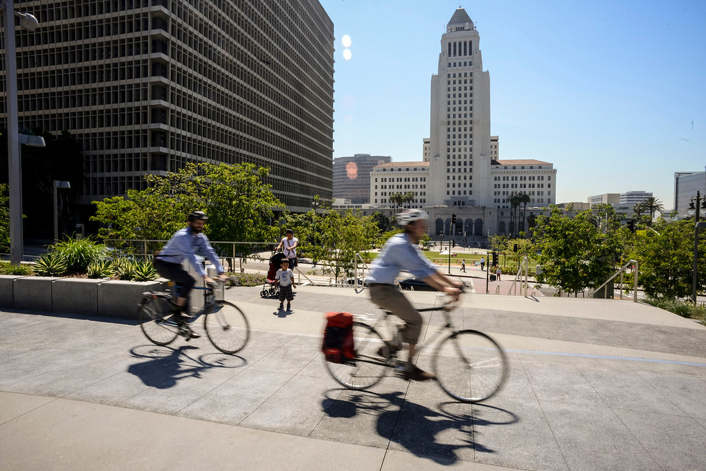 """. Cyclists, Metro and county officials gathered at Grand Park in Los Angeles Monday to kick off the first day of Bike Week.  Metro and cities throughout Los Angeles County are supporting programs for cyclists during the week.  Thursday is the official \""""Bike to Work\"""" day.   Photo by David Crane/Los Angeles Daily News."""