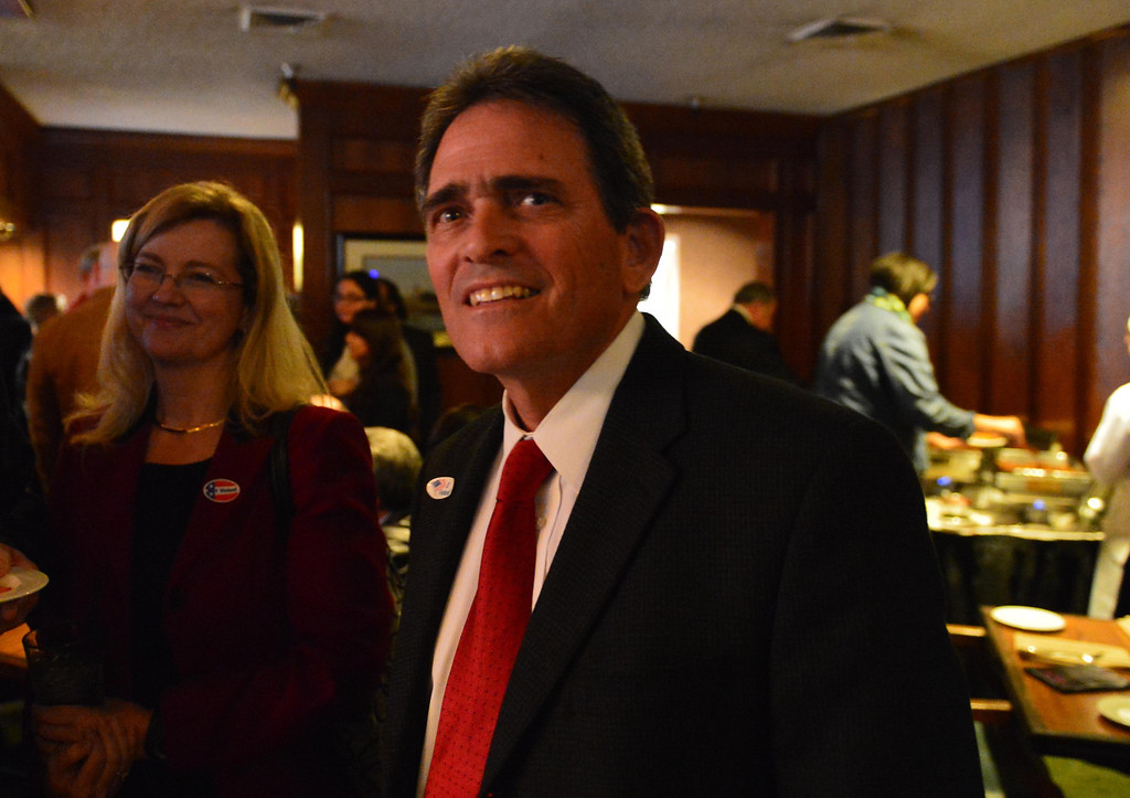 . San Bernardino Mayor-elect Carey Davis is all smiles after learning he received 56 percent of the votes in the mayor\'s race on Tuesday. LaFonzo Carter/The Sun