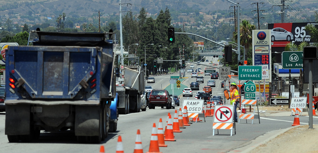 . Caltrans works along the 60 freeway west of Nogales Ave. known as the Summer Slam this weekend. In order to allow for roadwork, up to three westbound lanes of the 60 Freeway will be closed from 10 p.m Friday through 5 a.m. Monday. More weekend lane closures are to follow through August Saturday, July 13, 2013 in Rowland Heights, Calif.   (Keith Birmingham/Pasadena Star-News)