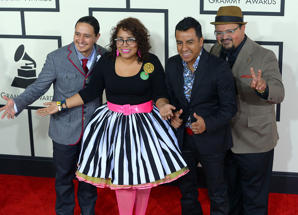 . La Santa Cecilia arrives at the 56th Annual GRAMMY Awards at Staples Center in Los Angeles, California on Sunday January 26, 2014 (Photo by David Crane / Los Angeles Daily News)