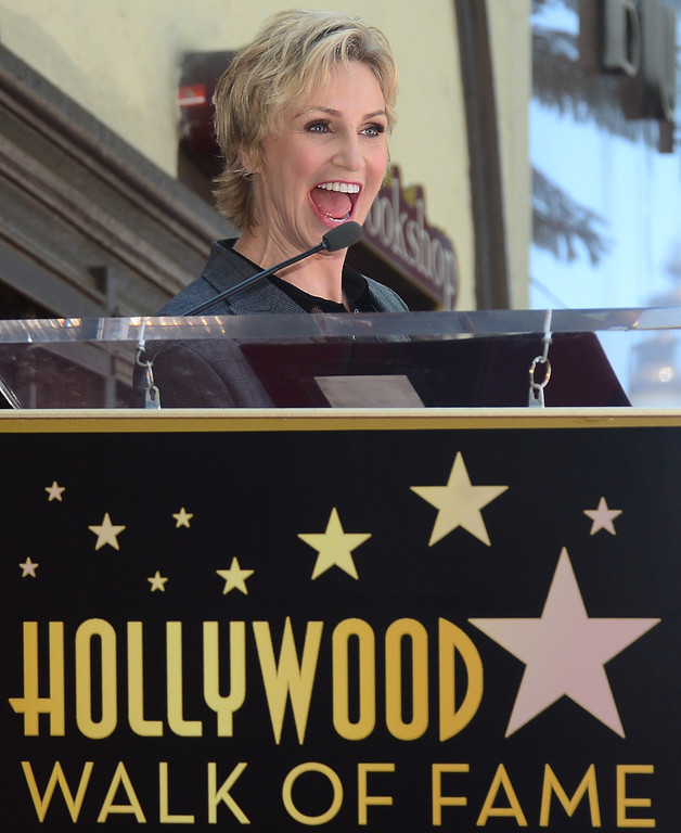 . Actress Jane Lynch speaks during a cermony honoring her with the 2,505 Star on the Hollywood Walk of Fame in the category of television on September 4, 2013 in Hollywood, California.         ( FREDERIC J. BROWN/AFP/Getty Images)