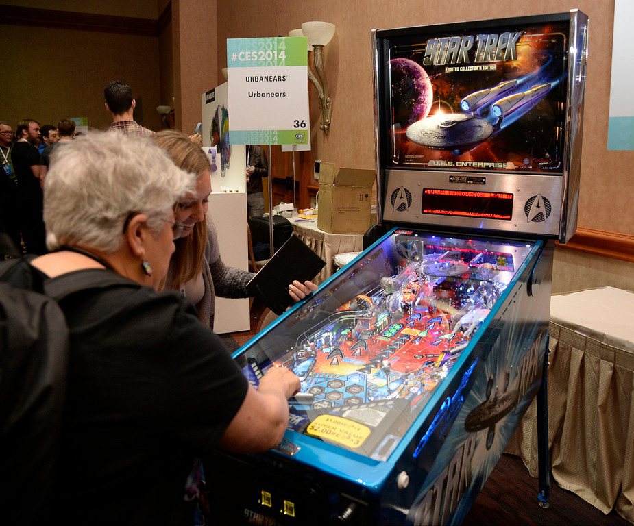 . Stern Pinball Inc., shows one of its new pinball machines during the 2014 Consumer Electronics Show (CES) on Sunday, June 5, 2014 in Las Vegas, Nevada. The 2014 CES show starts Tuesday, Jan. 7, 2014 and runs until Friday, Jan. 10, 2014 with 150,000 people estimated to attend the show. (Photo by Gene Blevins/Los Angeles Daily News)