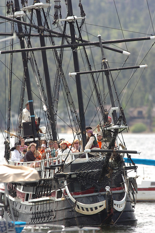 . The Big Bear Pirate Ship, a 1/3 scale replica of a 16th Century Spanish Galleon sunk in Big Bear Lake, apparently due to weather, sometime between Friday evening and Saturday morning at Holloway\'s Marina. (Staff file photo/The Sun)