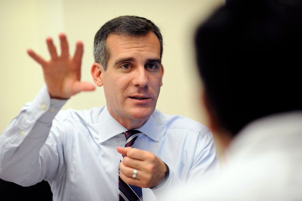 . Mayor Eric Garcetti meets with constituents Monday during his first day as Mayor of Los Angeles.   Garcetti held �office hours� at City Hall from 2-5 p.m., during which he met with Angelenos who have emailed requests for help from City Hall July 1, 2013.(Andy Holzman/Los Angeles Daily News)